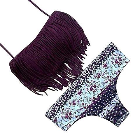 SUNNOW® Hot Nouveau Bikini Tassel Fringe Set Maillot de bain rembourré Trikini - 2 pièces (L, Vin rouge)