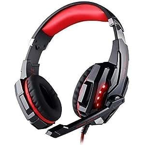 [Dernier Casque Gaming 7.1] KingTop EACH G9000 son Surround 7.1 Casque Gaming Headset Ecouteur avec Micro et LED pour PC Ordinateur(Noir-Rouge)