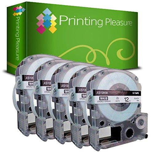 5x Schriftband kompatibel für Epson AS12KW Schwarz auf Weiß (12mm x 8m) für EpsonLabelWorks LW-300, LW-400, LW-500, LM-700, LW-900P, KingJim TepraPro Etikettendrucker
