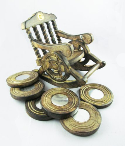 Pindia Beautiful Miniature Rocking Chair Design Wooden Tea Coffee Coaster Set  available at amazon for Rs.319