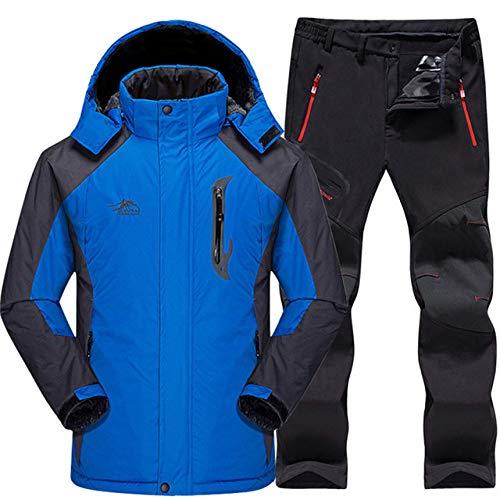 AXIANNV Skianzug Herren Wasserdicht, Thermo Snowboard JackeHoseHerrenBerg Skifahren und Snowboarden Winter Schnee Kleidung Set, Blau, XXXL