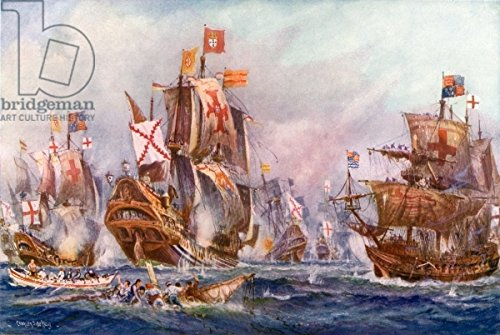 "Leinwand-Bild 30 x 20 cm: ""The glorious victory of Elizabeths seamen over the Spanish Armada, 1588"", Bild auf Leinwand"