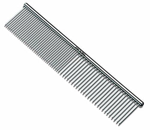 Hosaire 1x per cani e animali domestici, con spazzola e pettine, asimmetrica in acciaio inox per rasoio per capelli pettine e spazzola per la pulizia