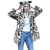 BaZhaHei Damen Winterjacke Wintermantel Frauen-Katzen-Ohr-Warmer Winter-Spitzen-Damen-Leopard-Druck-Pullover-Pullover Outwear