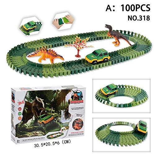 Dinosaurier Spielzeug 100/144 Stücke Slot Car Race Track Sets Jurassic World mit flexiblen Spuren Dinosaurier, Brücke erstellen eine Straße Auto Track Spielzeug