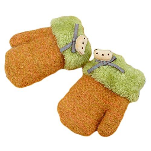 Hikfly Nette Stricken Fäustling Handschuhe für Baby Mädchen Jungen Kleinkinder Outdoor Sports Thermische Handschuhe Wärmer Fäustlinge Weihnachtsgeschenk (1-3 jahre) (Gelb, H) (Stricken Reisen, Rock)