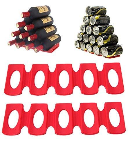 iZoeL Estante Para Botellas Portabotellas Silicona Plataforma de nevera para apilado de botellas; soporta hasta 15 botellas; Perfecto para el refrigerador BBQ Party Gabinete Pack de 2
