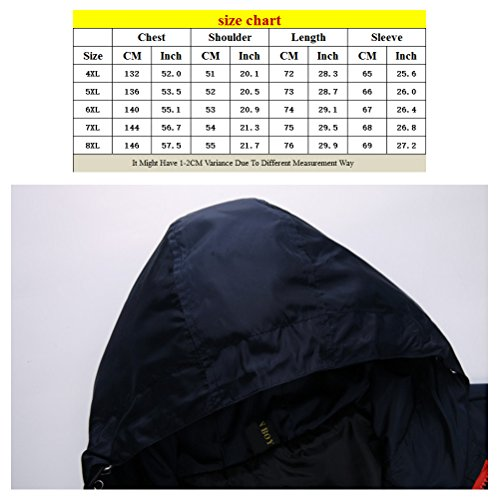 Zhhlaixing Outerdoor mode Super Plus Size Mens Waterproof Hooded Outerwear Walking Windproof Jacket red