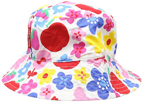 Toby Tiger Mädchen Mütze Butterfly Flower Reversible Hat, Mehrfarbig-Multicoloured (Blue/Green/Red/Yellow/Orange), X-Small -