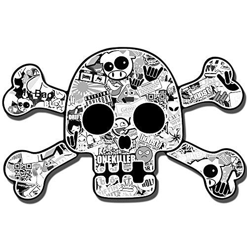2 Stück Vinyl Aufkleber Autoaufkleber Skull Schädel Totenkopf Gekreuzten Knochen Horror Stickers Auto Moto Motorrad Fahrrad Helm Fenster Tür Tuning B 192 Das Auto Horror Film