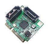GLOTRENDS - Scheda Adattatore da PCIe 2.0 a SATA III per IPFS Mining e aggiunta di dispositivi SATA 3.0( MiniPCIE to SATA)
