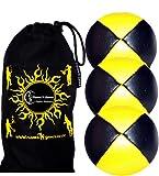 3x Palline da Giocoliere Pro - Set di 3 palline da giocoliere Deluxe (Cuoio / PU) + borsa per il trasporto. Nero con Giallo