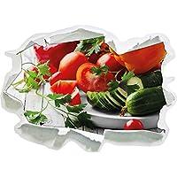 piatto di verdure con pomodoro, peperoni e zucchine nero / bianco, carta da parati 3D Misura Sticker: 92x67 cm decorazione della parete 3D Wall Stickers parete decalcomanie
