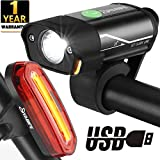 Yabife Luces Bicicleta Delantera y Trasera, Luz Bici LED Alta Potencia, USB Recargable, Impermeables, Para Carretera y Montaña
