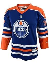 Connor McDavid Edmonton Oilers Youth Jeunes NHL Reebok Blue Replica Jersey Maillot