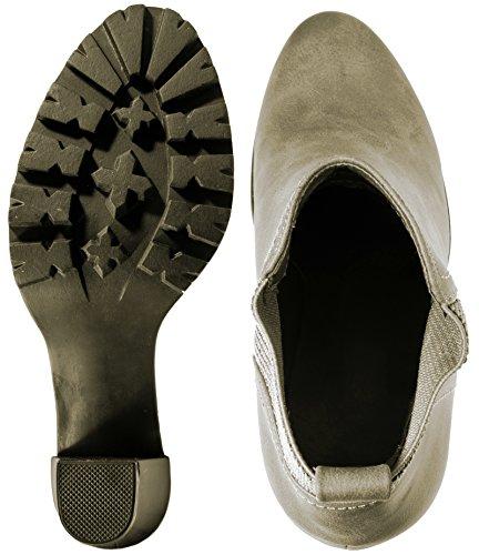 Elara Ankle Boots | Trendige Stivaletti Donna | Blocco Tacco Plateau | chunkyr ayan Khaki Hampton
