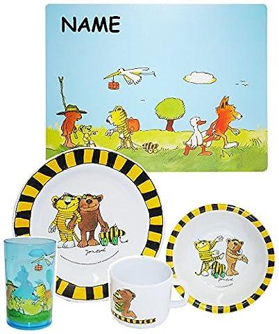 """Set: Kindergeschirr - """" Janosch / Tigerente - Tiger & Bär """"- incl. Name - Melamin Set - Müslischale + Platzdeckchen + Trinkbecher + Henkelbecher + Teller - Frühstücksset / für Jungen Mädchen - Frosch Tiger / Tiere"""