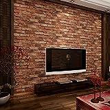 KeTian Papier peint Texturé Effet mur de brique en PVC motif 3D pour salon salles TV hôtels 0,53 x 10m = 5,3m²