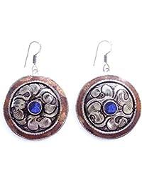 df6188673684 Hecho a mano tibetano ronda pendientes para mujeres y chicas único  diseñador gota moda pendientes oxidado plata étnico TRIBAL bohemio…