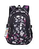 SellerFun® Kid Child Girl Flower Printed Waterproof Backpack School Bag(Black,Small)