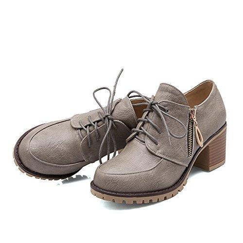 AgooLar Damen Weiches Material Rund Zehe Mittler Absatz Reißverschluss Rein Pumps Schuhe Grau