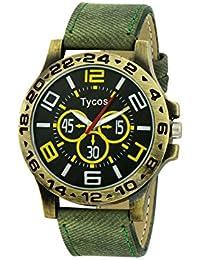 Tycos Black Dial With Green Denim Strap Analog Watch