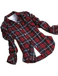 Teamyy les femmes bouton enfoncé contrôles à carreaux revers chemise blouse en tête
