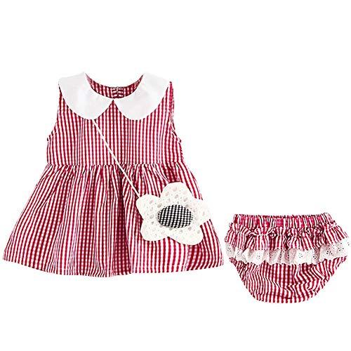 Blaward Sommer Baby Kleidung Kariertes Muster ärmelloses Baumwollkleid + Kurze PP-Hosen 2St