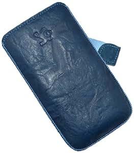 Suncase Ledertasche mit Rückzugsfunktion für das Samsung Galaxy S3 Mini i8190 in wash-blau