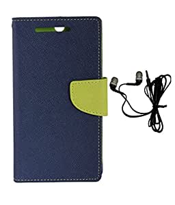 Zocardo Diary Flip Case Cover With magnetic lock And pocket for card & money For LG Nexus 5 -Blue With Earphone