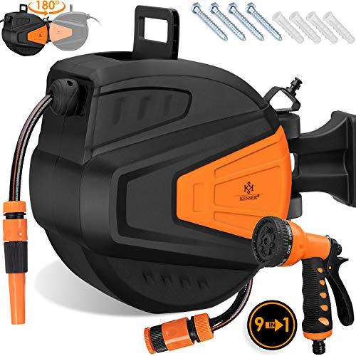 Kesser® Schlauchtrommel 20+2m Schlauchaufroller Wasser | Multi-Handbrause | 180° Schwenkbar | Aufwickelstopper | Wandhalterung | Wand-Schlauchbox | Wasserschlauchtrommel | Gartenschlauch | Orange