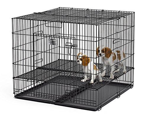 Midwest Wohnungen für Haustiere Puppy Laufgitter mit Fußboden-Gitter, 1,27 cm (0,5 Zoll) Bodenrost, Medium, Silber