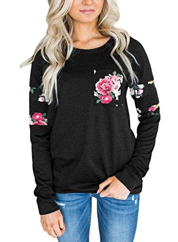Dokotoo Femme Casual Manche Longue T Shirt Imprimé Floral Sweat Shirt Blouse Tops Hauts Automne Hiver Noir