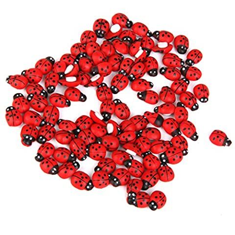 Miniature Wooden Ladybugs Bonsai Ornaments Landscape Decor Pack of Approx.100pcs