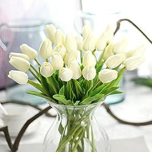 MDD_Tech 10 flores artificiales de poliuretano con hojas para decoración de ramo de boda, color naranja