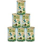 Dehner Best Nature Katzenfutter, Adult Geflügelherzen und Kaninchen, 6 x 400 g (2,4 kg)