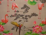 Half Metre Paradise Flamingo Parrot Bird Linen Look Photo Digital Printed Full Colour Designer Cotton Curtain Upholstery Fabric by Pandoras Upholstery