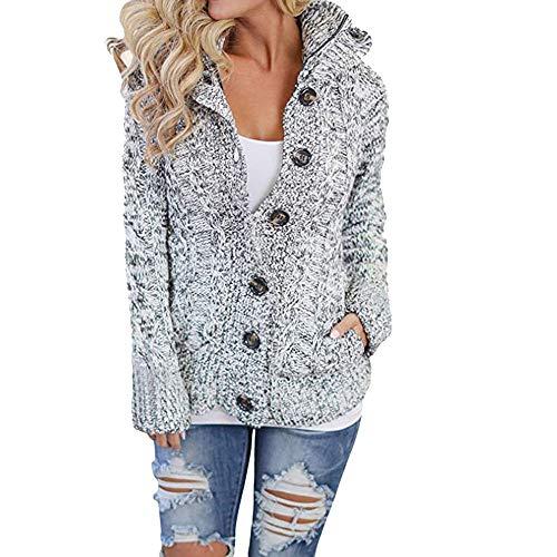 VRTUR Damen Mäntel Mit Kapuze Tasche Kabel Stricken Taste Nieder Outwear Sweatshirt Strickjacken Jacke Oberteile(X-Large,Grau) -