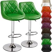 Miadomodo - 2 Taburetes de bar - Regulables en altura y giratorios, Verde