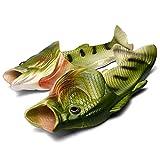 Fisch Hausschuhe Lustige Schuhe Slippers Unisex Anti-Rutsch Strand Besondere Sandalen Dusche Kinder Jungen Mädchen Damen Herren Grün 44/45