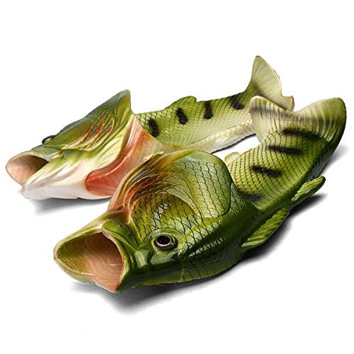 Zeeton Unisex Lustige Besondere Fisch Strand Schuhe Anti-Rutsch Hausschuhe Sandalen Dusche Slippers Kinder Jungen Mädchen Damen Herren Grün 42/43 (Herren Fisch)