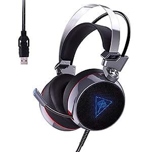 AUKEY Casque Gaming PC avec Micro Stéréo Virtuel à Canal 7.1 RGB Rétro-éclairage Réduction des Bruits Casque Jeux Ecouteur de Gaming Mic Flexible Over-Ear - Noir et Argent
