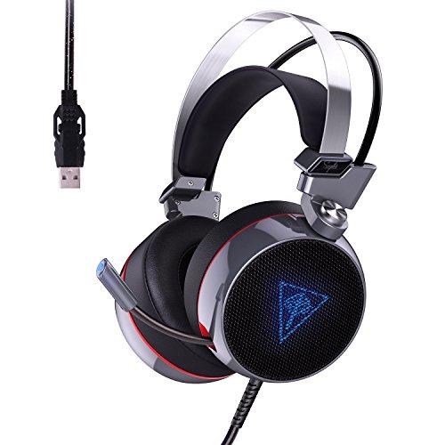 Aukey cuffie headset 7.1 gaming cuffia usb canale stereo retroilluminazione rgb cancellazione di rumore auricolare da gioco over-ear con microfono flessibile, switch di vibrazione e controllo volume