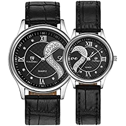 Fq-102 Ultrathin Leather Romantic Black Pair Fashion Wrist Watches for Couple Men Women(set of 2)