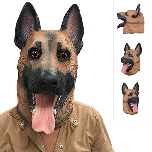 WYQWAN Halloween-Maske, Wolfshundekopfbedeckung, Latex, Hundekopfmaske, Halloween-Kostüme, Festliches Party-Dress Up, Requisitenmaske - - Opa Aus Up Kostüm