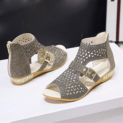 LHWY Damen Keil Sandalen Fashion Fish Mund Pumps Hollow out shoes Gold