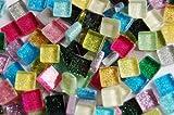 100 Stück Glas Mosaiksteine mit Glitzer 1x1cm ca. 85g Buntmix