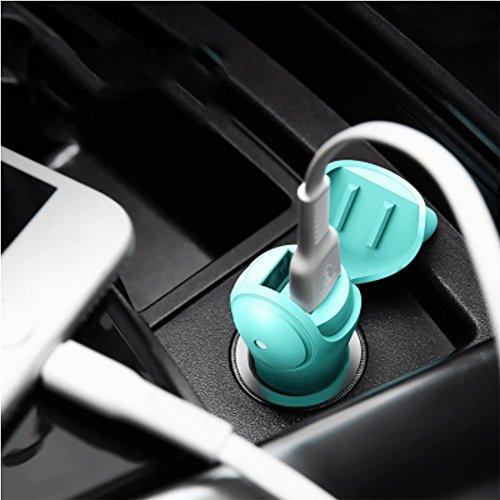 RUIX Auto Ladegerät Niedlich USB Zigarettenanzünder Kopf Multifunktionale Schnellladung 24V,Green (Mehrere Kopf)