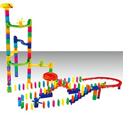Mega Domino Kugelbahn, 130 Teile, Murmelbahn Bausatz mit Dominosteine