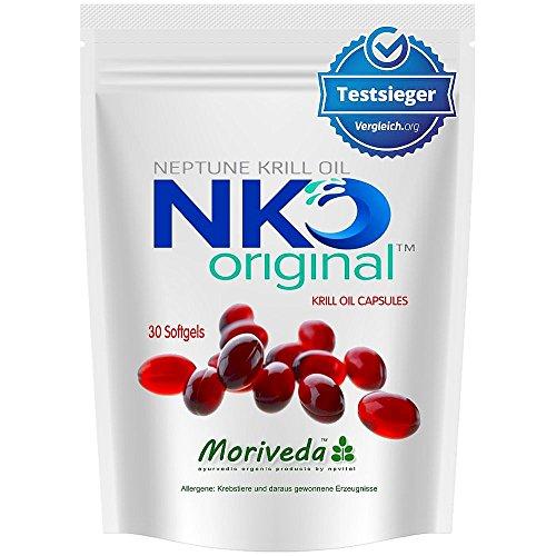 NKO olio di krill capsules (vincitore del test) 30, 90 o 180 pezzi in farmacia da MoriVeda - Omega 3,6,9 astaxantina, vitamina E, colina, fosfolipidi, olio di krill (30 capsule di softgel)